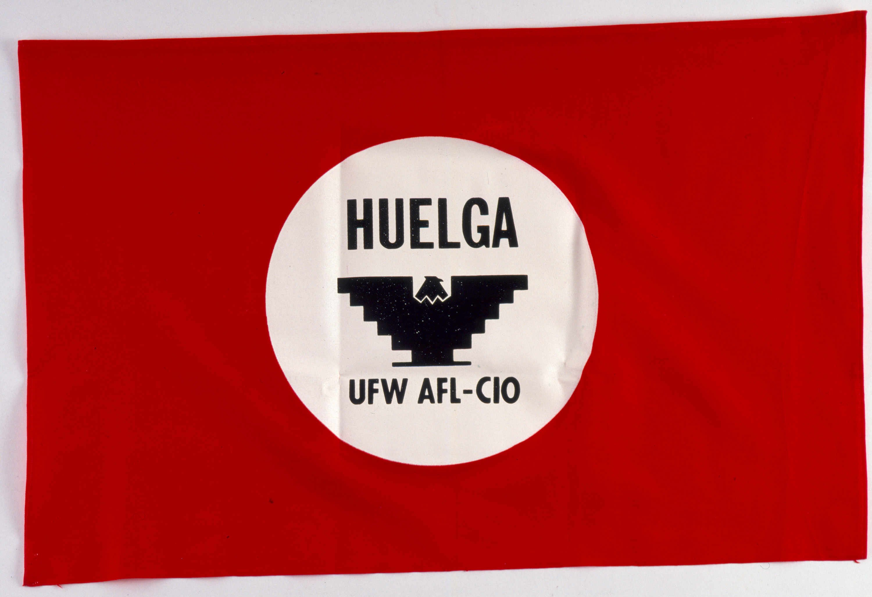 """Red """"Huelga"""" banner – United Farm Workers 