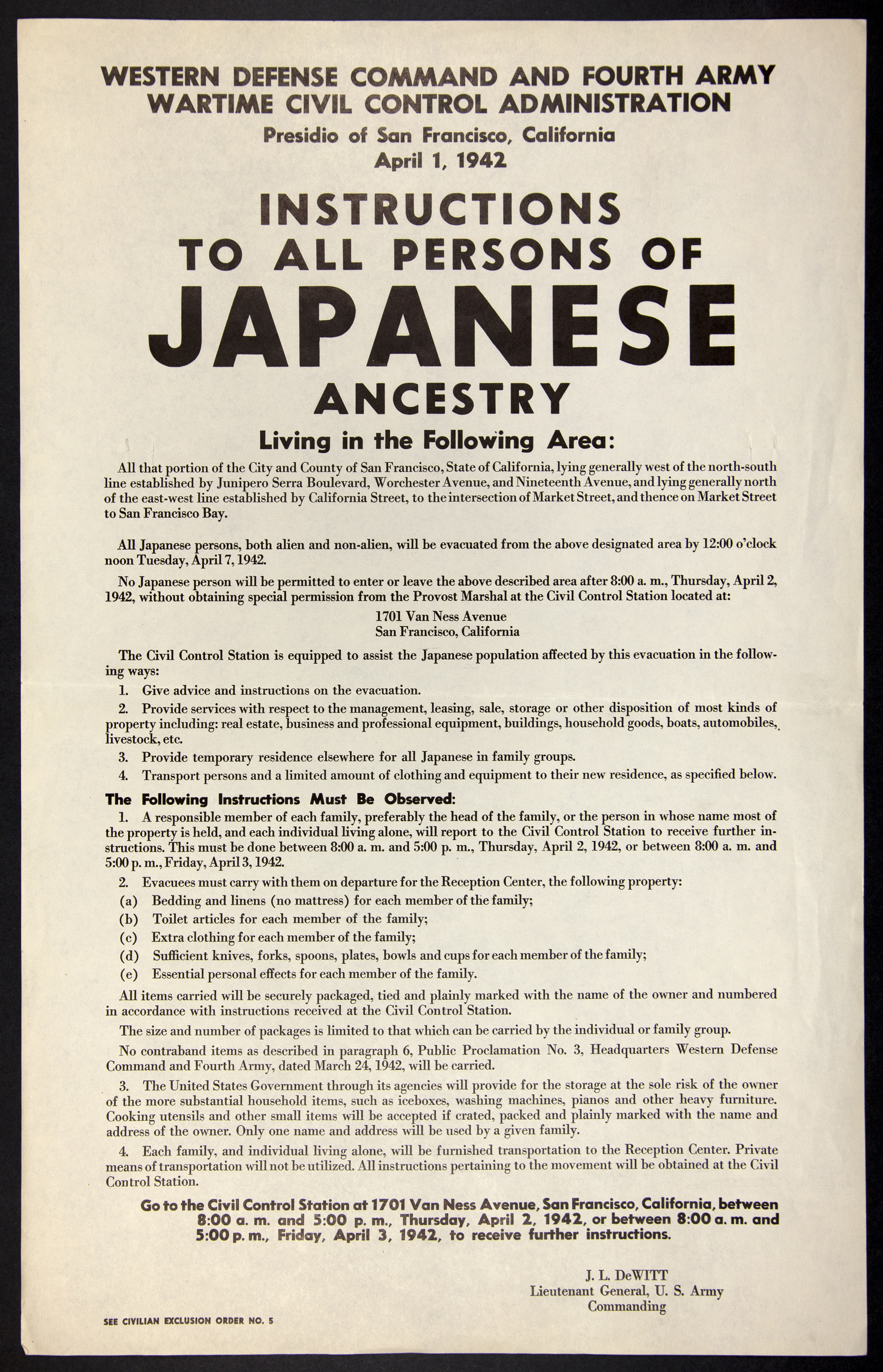 Instructions For All Persons Of Japanese Ancestry From The
