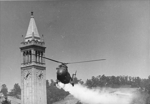 Helicopter sprays tear gas on demonstrators on University of